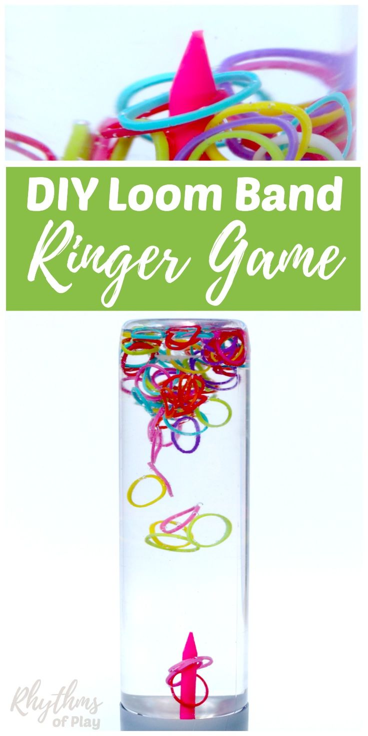 A DIY rainbow loom band ringer game sensory bottle is an easy way to help children (and adults) relieve stress while they play. Calm down jars like this ringer game for kids and adults of all ages can beused for safe no mess sensory play, a science teaching aid, and to help children develop their concentration and focus. Discovery bottles are the perfect way for babies and toddlers to play games with small items without the risk of choking on them.