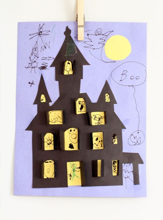Boo! Isn't this the cutest idea? Post includes free haunted house template.