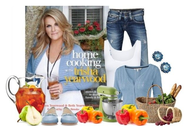 """home cooking with trisha yearwood"" by ameve ❤ liked on Polyvore featuring Pepe Jeans London, Zara, Boody, Fat Face, KitchenAid and The Cellar"