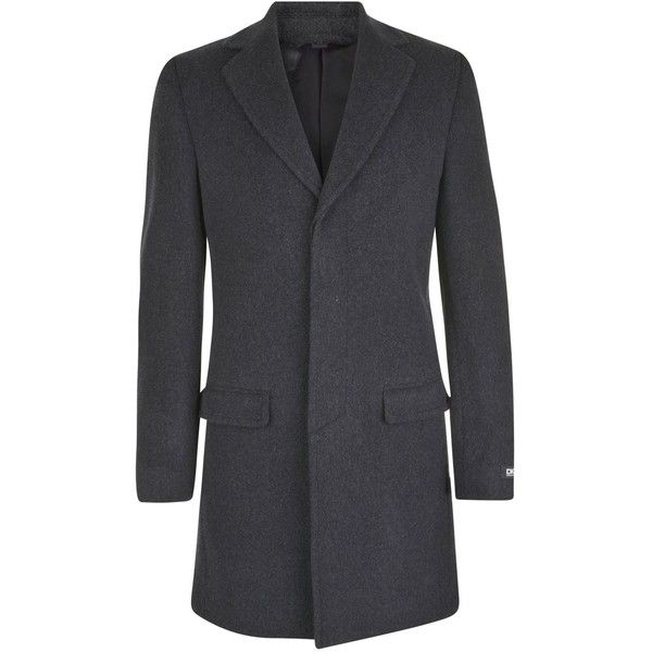 DKNY Wool Crombie Coat (260 BRL) ❤ liked on Polyvore featuring men's fashion, men's clothing, men's outerwear, men's coats, mens wool coats, mens wool outerwear, mens crombie coat and dkny mens coats
