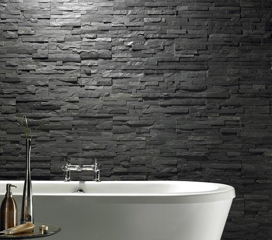 How To Do Wall Tile In Bathroom: Bathroom Stacked Stone Light Grey Tiles