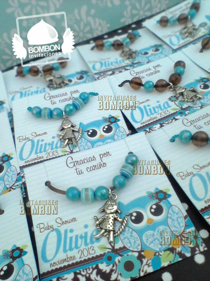 #Owl #buho #pulsera #baby #Blue #brown #damask #babyshower #fomy #foami #Bracelet #Invitaciones #Bombon #InvitacionesBOMBON