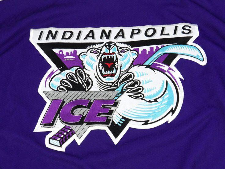 Vintage INDIANAPOLIS ICE Hockey Jersey Purple Black Mens Large L USA Indy Fuel #OTSports #IndyFuel