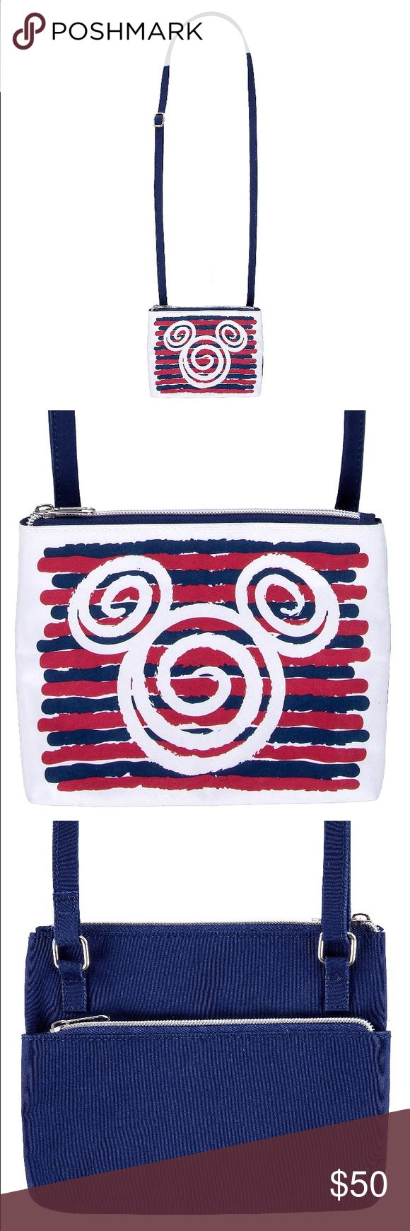 """NEW Mickey Mouse Icon Swirl Stripe Crossbody Bag Authentic Disney Parks. New with tags. 7.45""""x6.1"""". Material: microfiber Disney Bags Crossbody Bags"""