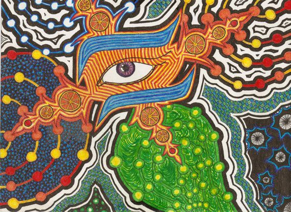 Fine tipped pen drawing  Citrus Eye  PRINT of by MerinnesCreations, $20.00
