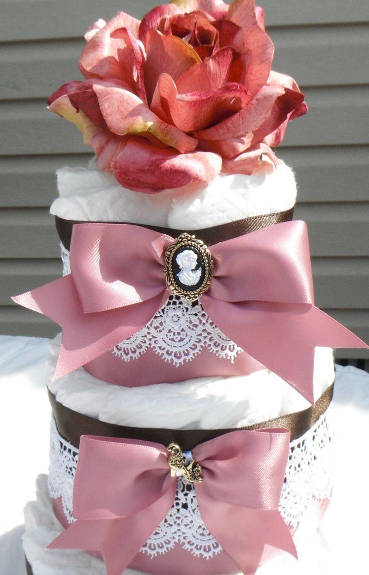 Victorian Diaper Cake Girls Diaper Cake  Baby Shower Centerpiece Baby Shower Gift Baby Gift. $45.00, via Etsy - idea for DIY