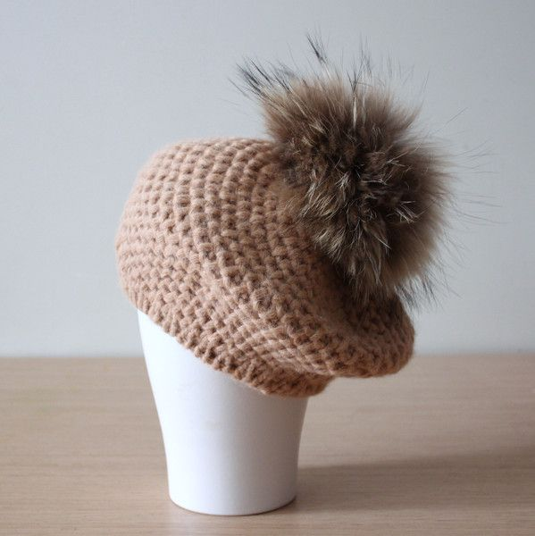 Bobble Hats – Knitted alpaca beret with fur pom pom in Camel – a unique product by HatsAndOtherStories on DaWanda