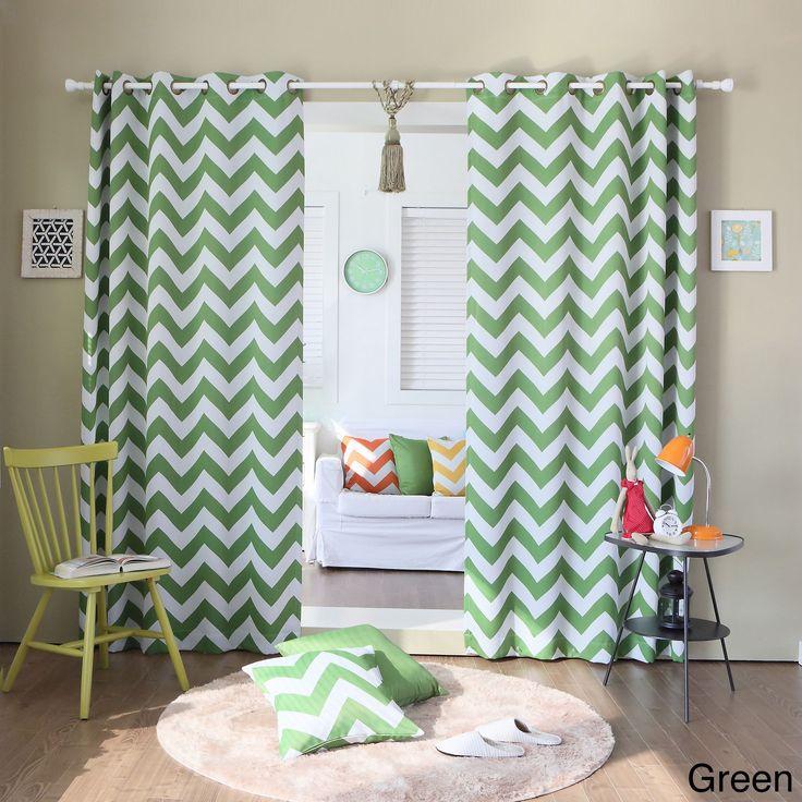 Aurora Home Print Room Darkening Grommet Top 96-inch Curtain Panel Pair