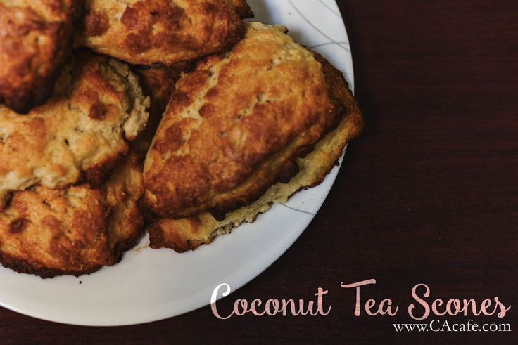 CAcafe Coconut Tea Scones Get the full recipe here: http://www.cacafe.com/blog/coconut-tea-scones Don't forget to order some Coconut Tea! www.CAcafe.com/products/