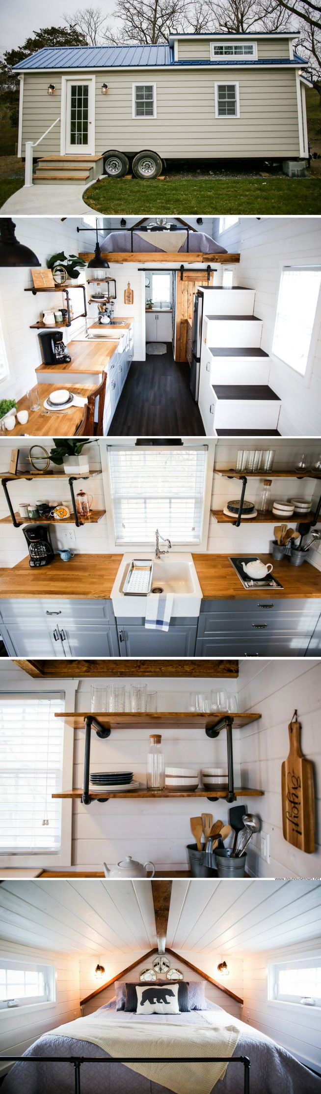 View toward kitchen the alpha tiny home by new frontier tiny homes - The Modern Farmhouse From Liberation Tiny Homes Kitchen Layout Design