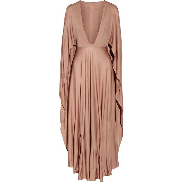 Valentino Cape-effect silk-jersey maxi dress (9.210 BRL) ❤ liked on Polyvore featuring dresses, gowns, vestidos, valentino, plunge-neck dresses, valentino gowns, valentino evening gowns, taupe gown and plunging-neckline dresses