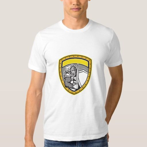 Knight Full Armor Open Visor Sword Shield Crest Re T Shirt. Illustration of a knight in full armor with open visor holding sword and shield viewed from the front set inside shield crest done in retro style. #Illustration #KnightFullArmorOpenVisor