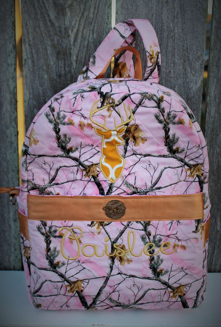 Quilted Pink Camo Backpack, Embroidered Pink Camo Backpack, Real Tree or True Timber Fabric Backpack, Camo Baby bag, Camouflage Purse by PunkinPatchBags on Etsy
