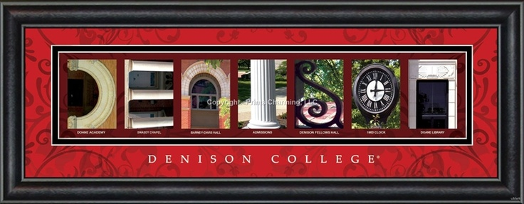 Denison University Campus Letter Art $48.95    Merry Christmas, Happy Holidays to me