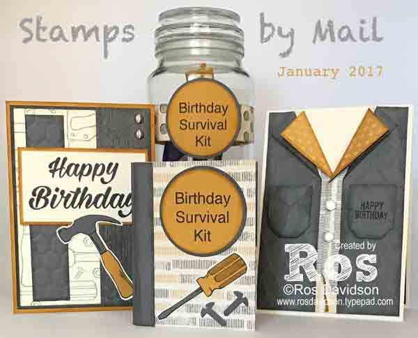 Nailed it masculine birthday cards, stamps by mail class, January 2017. Purchase the materials and get the class for FREE plus sale-a-bration product (during January 4th - March 31st, 2017). If you live outside of Australia or are a demonstrator, buy the PDF instructions now for $20. #nailedit #birthday #stampinup #stampsbymail #bigshot #masculinebirthdaycards