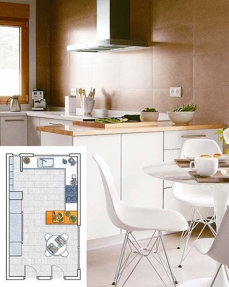 Una cocina de 18 m²