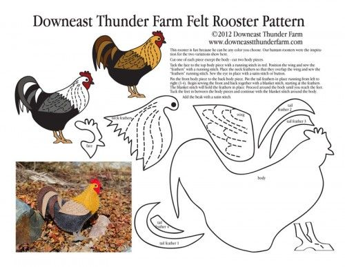 Free Simple Felt Ornament Patterns | Rooster In My Garden Felt Ornament | Downeast Thunder Farm