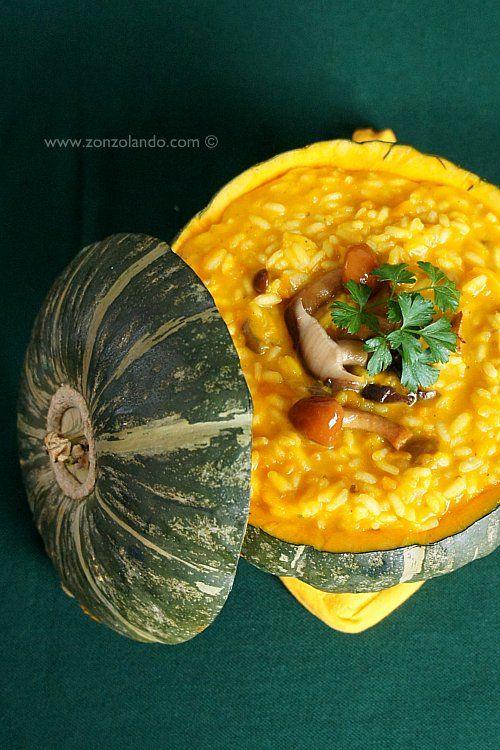 Risotto alla zucca e funghi - Pumpkin and mushroom risotto | From Zonzolando.com