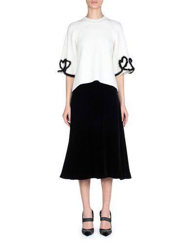 182467cbc05 -7Q3M Fendi 3/4-Sleeve Ribbed-Knit Sweater with Mink Fur Heart Details  Silky Velvet Midi Skirt
