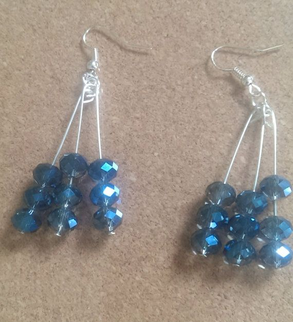 I love love love these earrings even though i made them myself!!Check out this item in my Etsy shop https://www.etsy.com/listing/197683613/earrings-blue-crystal-dangle-earrings