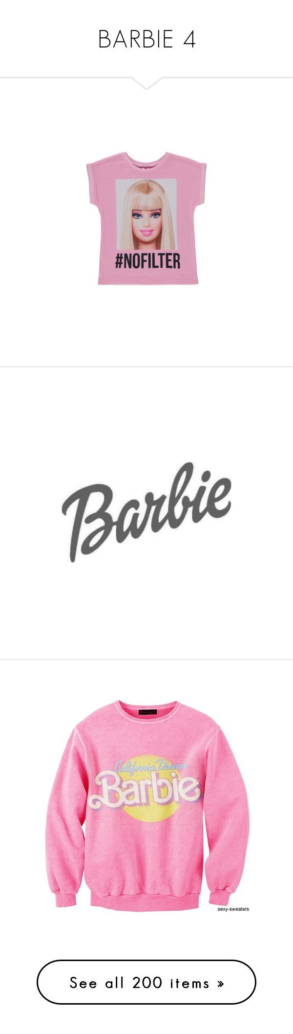 """BARBIE 4"" by paulagriggs ❤ liked on Polyvore featuring barbie, tees, pink, backgrounds, tops, light grey, stretch top, short sleeve polo shirts, short sleeve tops and rayon tops"