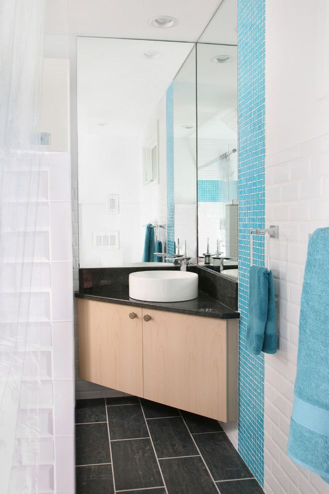 Corner Vanity Sink Powder Room Modern with Bathroom Mirror Blue Tile