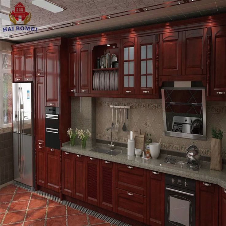 Bomei American Style Luxury Design Solid Wooden Kitchen Cabinets With Kitchen Pantry Cupboards For Sale
