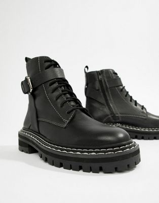e11b12a177d ASOS DESIGN Premium atomic leather chunky lace up boots