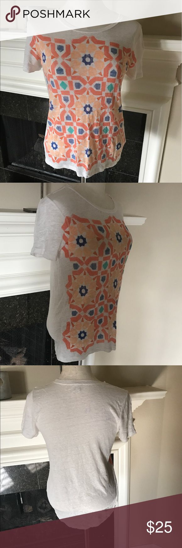 """J Crew Linen Moroccan Tile Tee J Crew short sleeved tee with light colored printed pattern. EUC. Loose fit , body length 25"""". Stock photos from J.Crew Website J. Crew Tops"""
