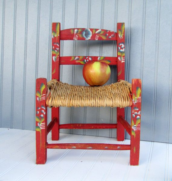 Vintage Folk Art Primitive Rustic Shabby Chic Hand Painted Childs Chair  Mexico. This Is Adorable