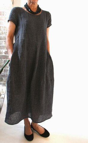 Casual linen onepiece dress loose plus elegant by LittleLilbienen, $60.00