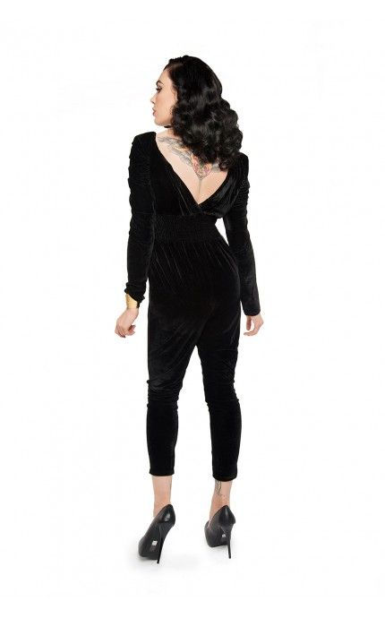 Pinup Girl Clothing- Isabel Velour Jumpsuit in Black | Pinup Girl Clothing