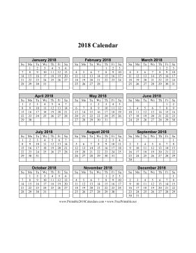 2017 calendar on one page