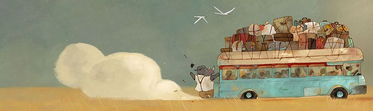 """By Aurélie Neyret (aka Clo). From a book she illustrated titled """"Les Vacances de Monsieur Rhino""""."""