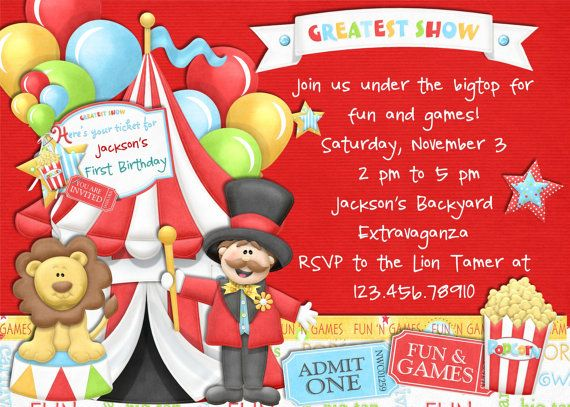 Best Kids St Birthday Circus Theme Images On Pinterest - Birthday invitation cards circus