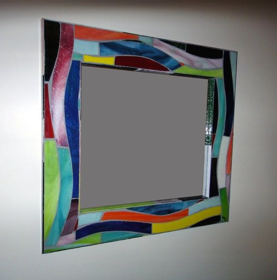 22 inch Stained Glass Mosaic Mirror Art Deco Style by ScottMosaics, $450.00