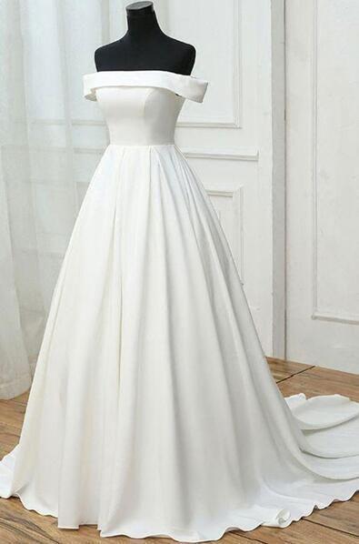 e11ca9bb8b34 Simple white wedding dress,satin off shoulder wedding dress,cheap wedding  dress by prom dresses, $178.00 USD