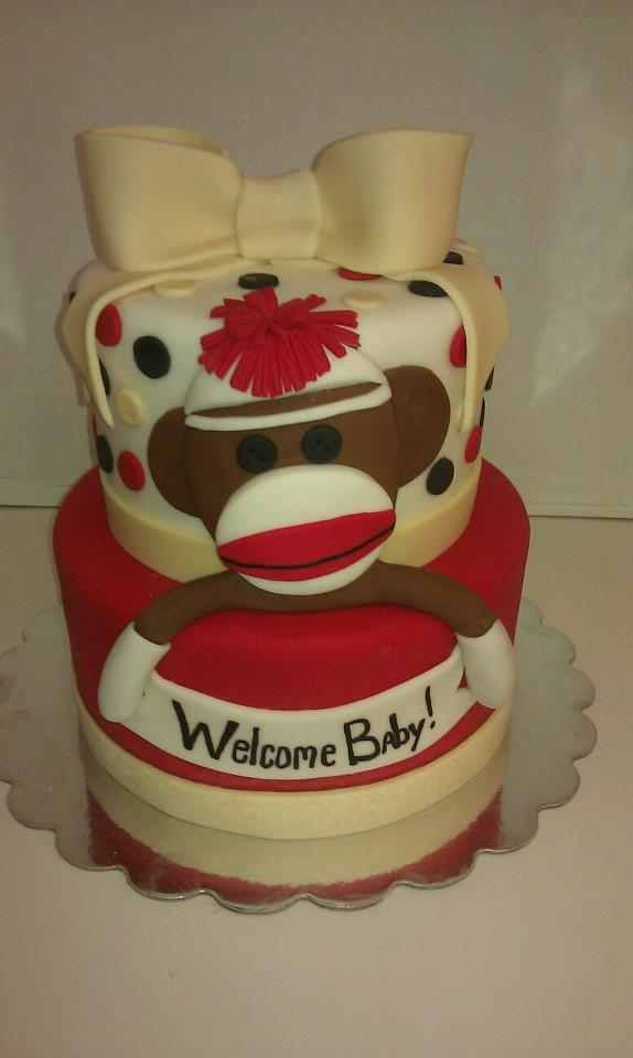 sock monkey cake without the boy (add 1 on top) and kids name.