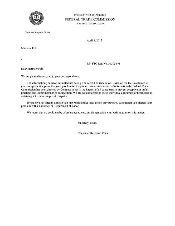 sample letter complaint poor security service cover templates - sample ftc complaint form