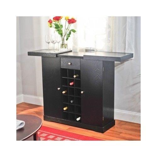 Wine Bar Cabinet Liquor Storage Black Home Dining Sliding Wood Counter  Furniture