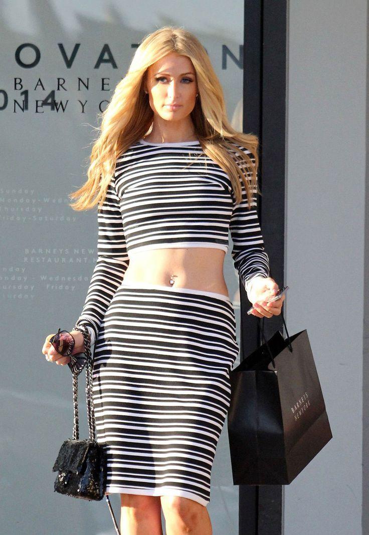 Hot Sexy Black White Striped Skirt Set