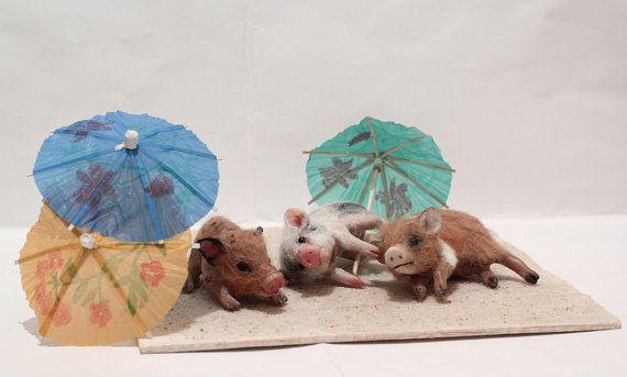 OOAK Miniature Pig Piggies on the beach by Malga by malga1605