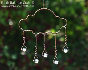 Rain Cloud Suncatcher, Whimsical Cloud Art, Kinetic Decoration, Wire Raindrops, Weather Gifts