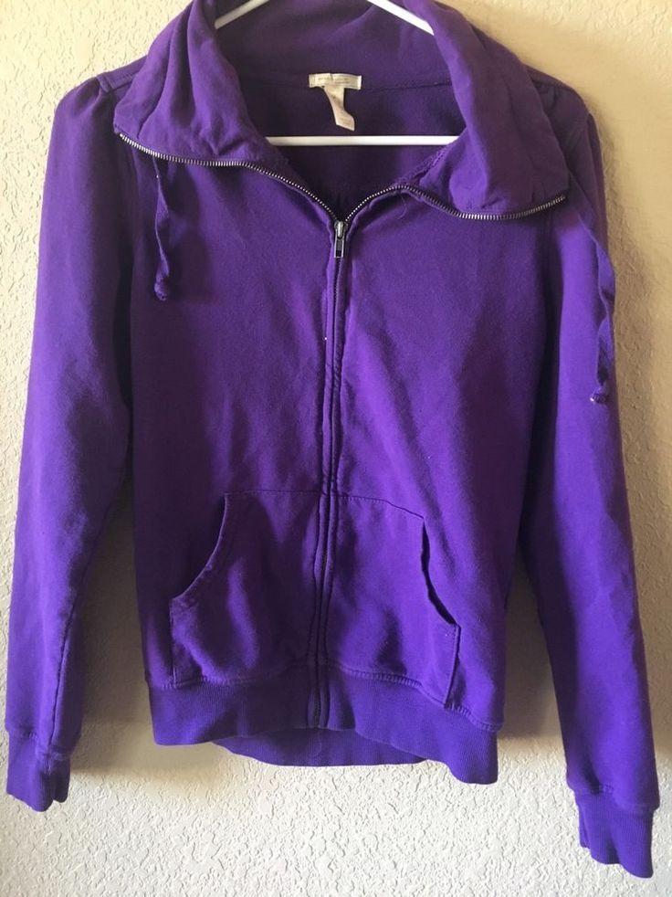 Ambiance womens zip up purple sweater jacket M #AmbianceApparel #jacket