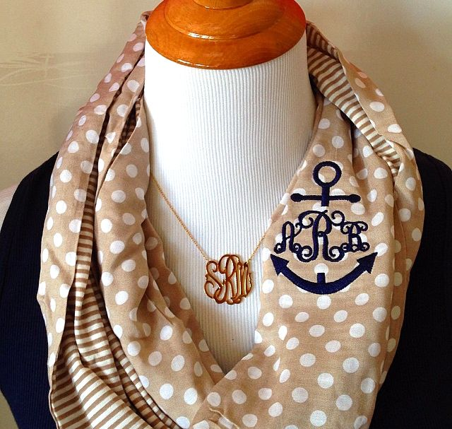 Anchors, polka dots, stripes and #monograms, oh my! Check out SwellCaroline.com for the new #nautical monogram option for this infinity scarf! #PreppyFashion