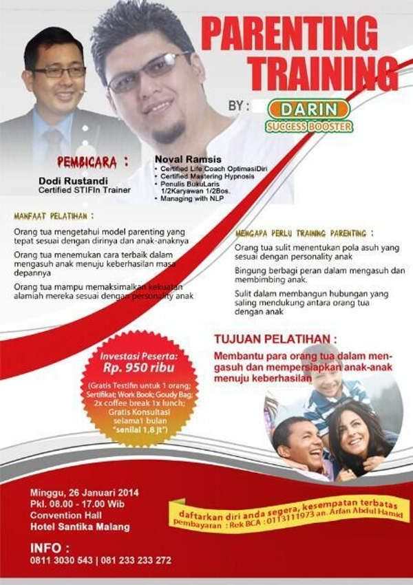 """Untuk Para Orang Tua, AYO IKUTAN SEMINAR """"Parenting Training"""" with NovaL Ramsis at @Santika Indonesia"""