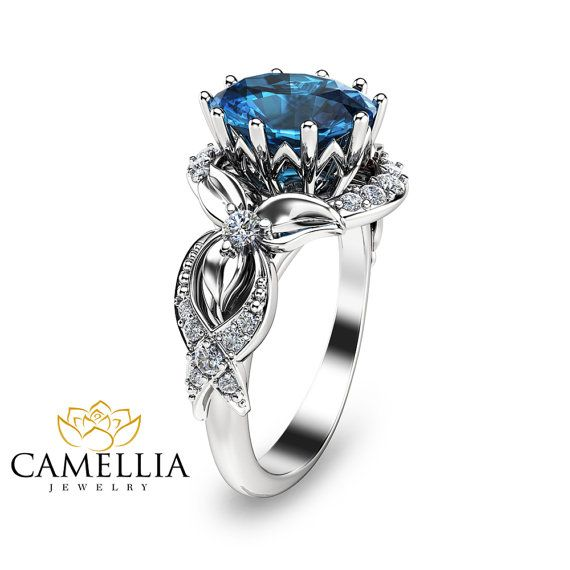 14K White Gold Topaz Engagement Ring Oval by CamelliaJewelry