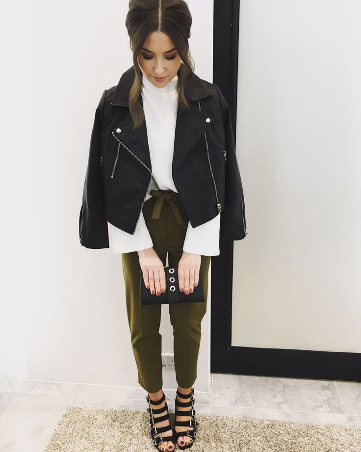 Smart meets casual in this layered look by our Personal Shoppers. Pair belted cigarette trousers with a classic biker jacket. #Topshop