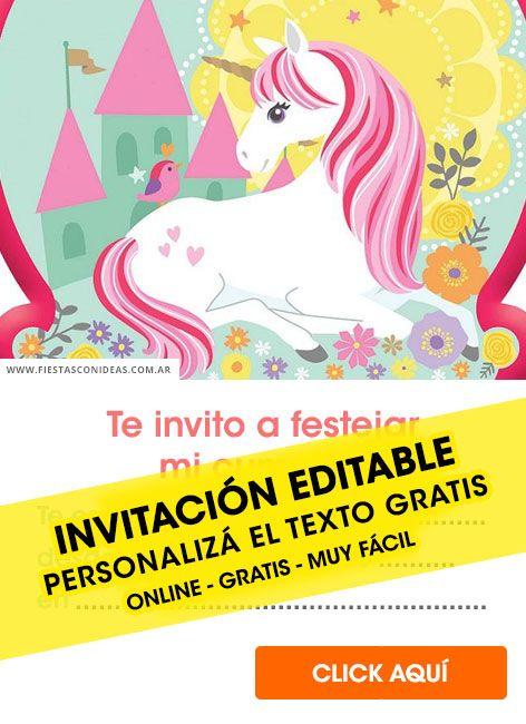 35 Invitaciones De Unicornios Gratis Para Editar Personalizar