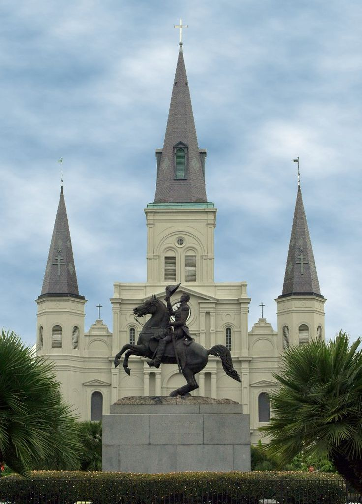 The historic Jackson Square, originally known in the 18th Century as 'Place d'Armes' and later renamed in honor of the Battle of New Orleans hero, Andrew Jackson, is a featured attraction in the heart of the French Quarter in New Orleans.